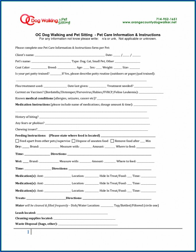 Dog Walking Contract Forms Uk