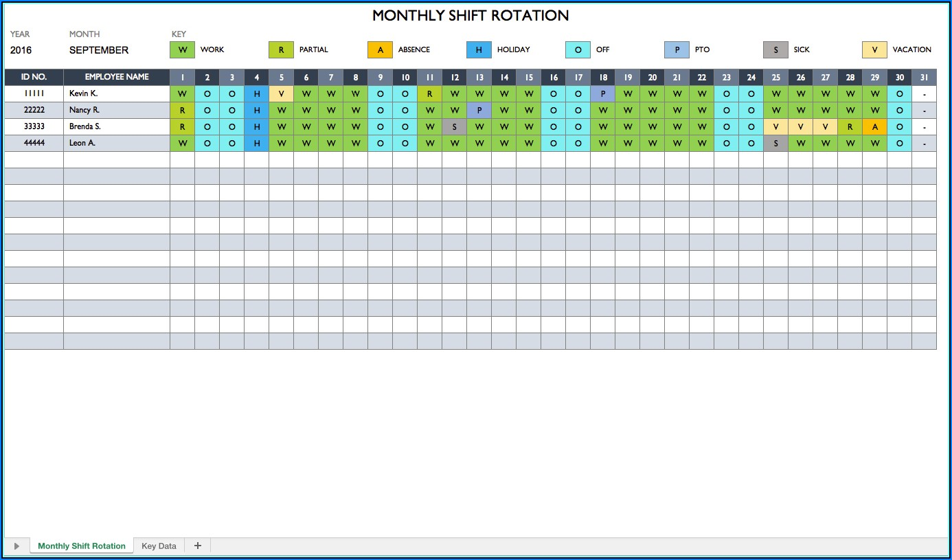 Employee Work Schedule Monthly Template