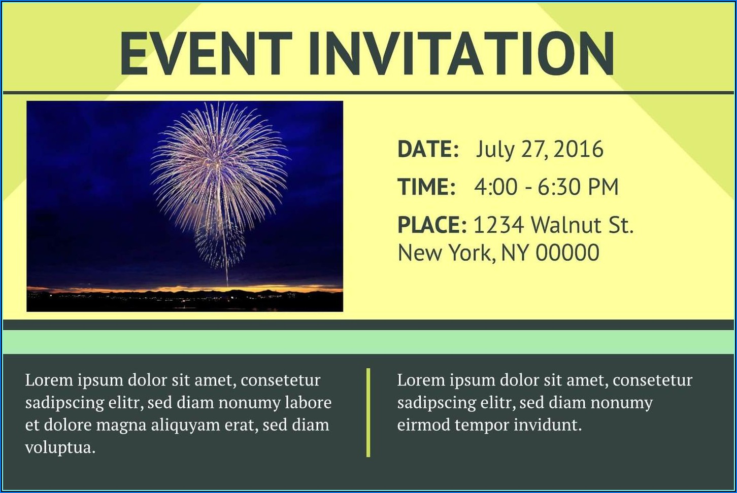 Event Invitation Card Template Free Download