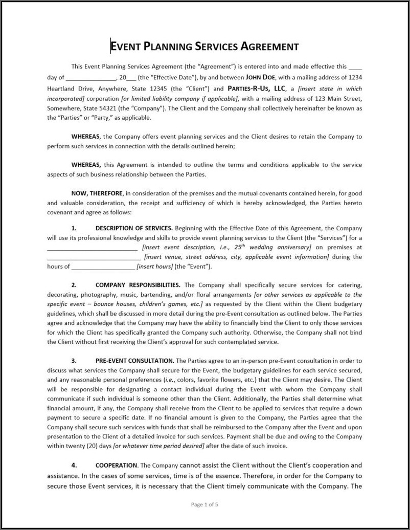 Event Planning Contract Template Free