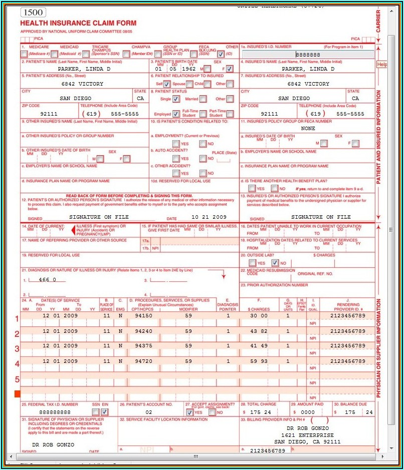 Example Of Cms 1500 Form Completed