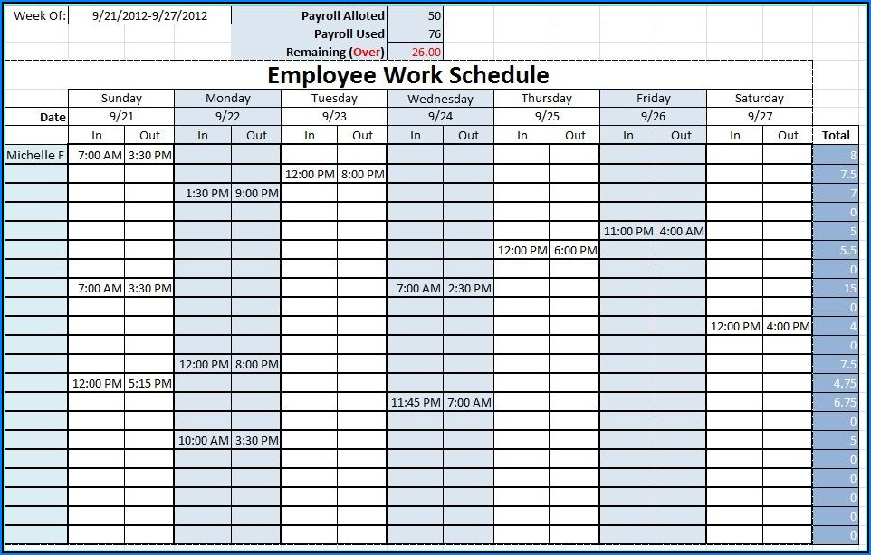 Excel Templates For Staff Scheduling