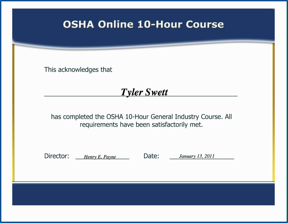 Fake Osha 30 Card Template