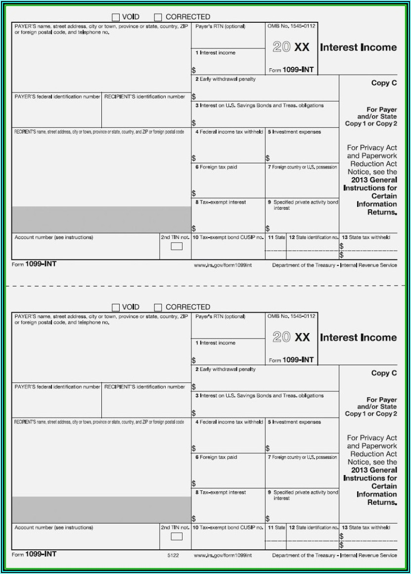 Fillable Form 1099 Int