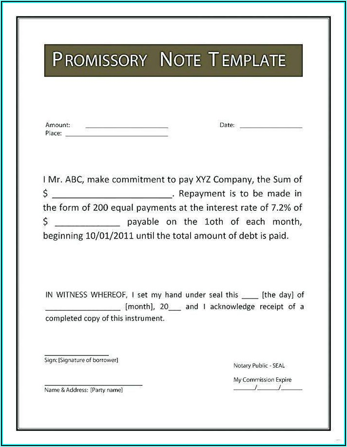 Form Of Promissory Note New York