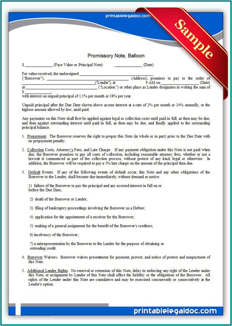 Form Of Promissory Note