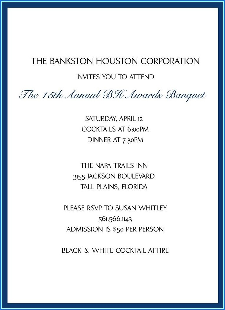 Formal Invitation To Dinner Template
