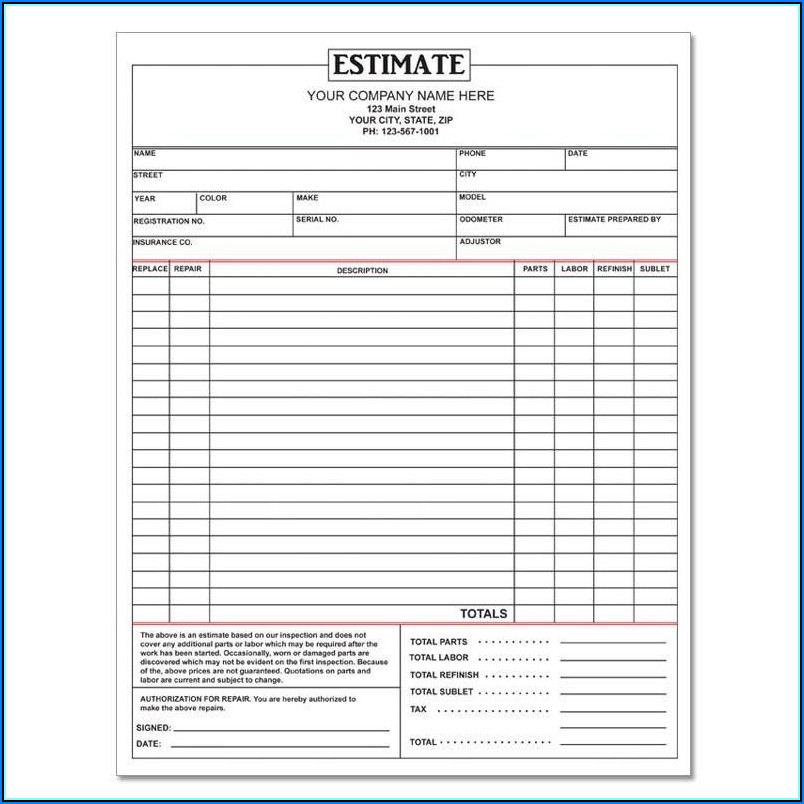 Free Auto Body Repair Estimate Template Forms