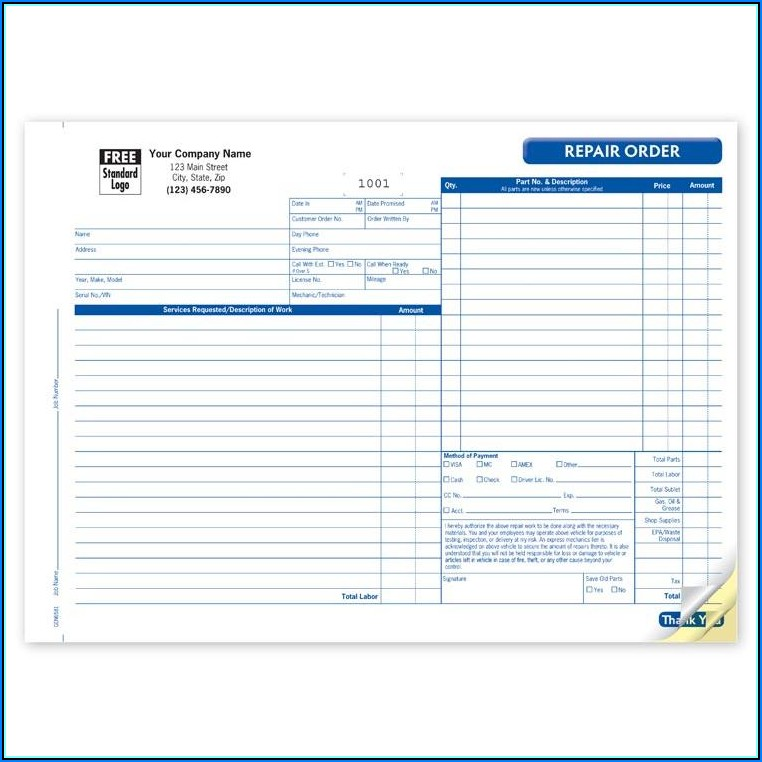 Free Auto Repair Estimate Template Forms