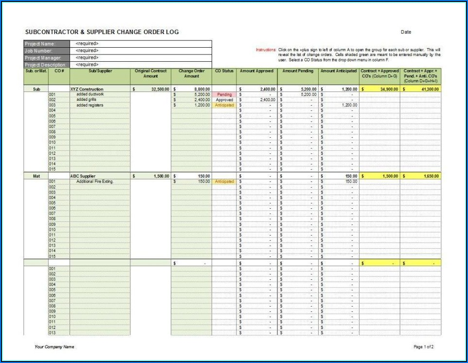 Free Construction Change Order Log Template Excel