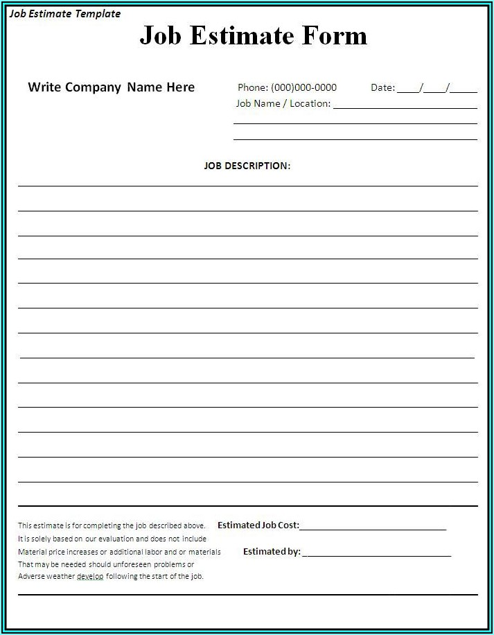 Free Contractor Forms Templates