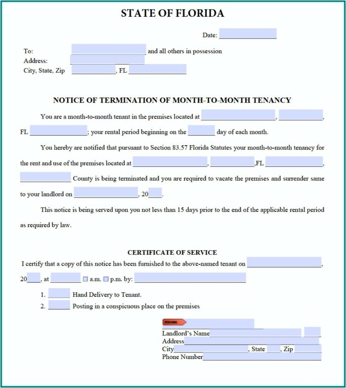 Free Florida 3 Day Eviction Notice Forms