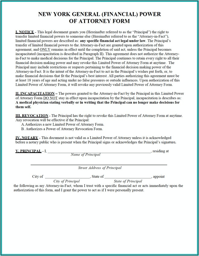 Free General Power Of Attorney Form Ny