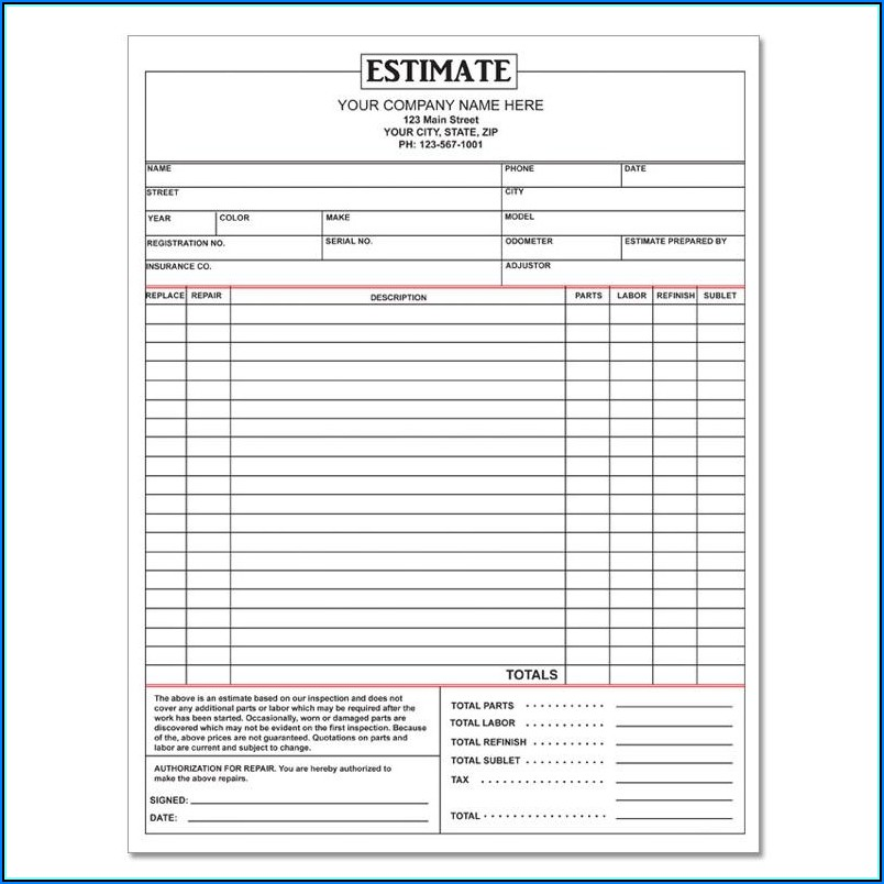 Free Online Auto Repair Estimate Template