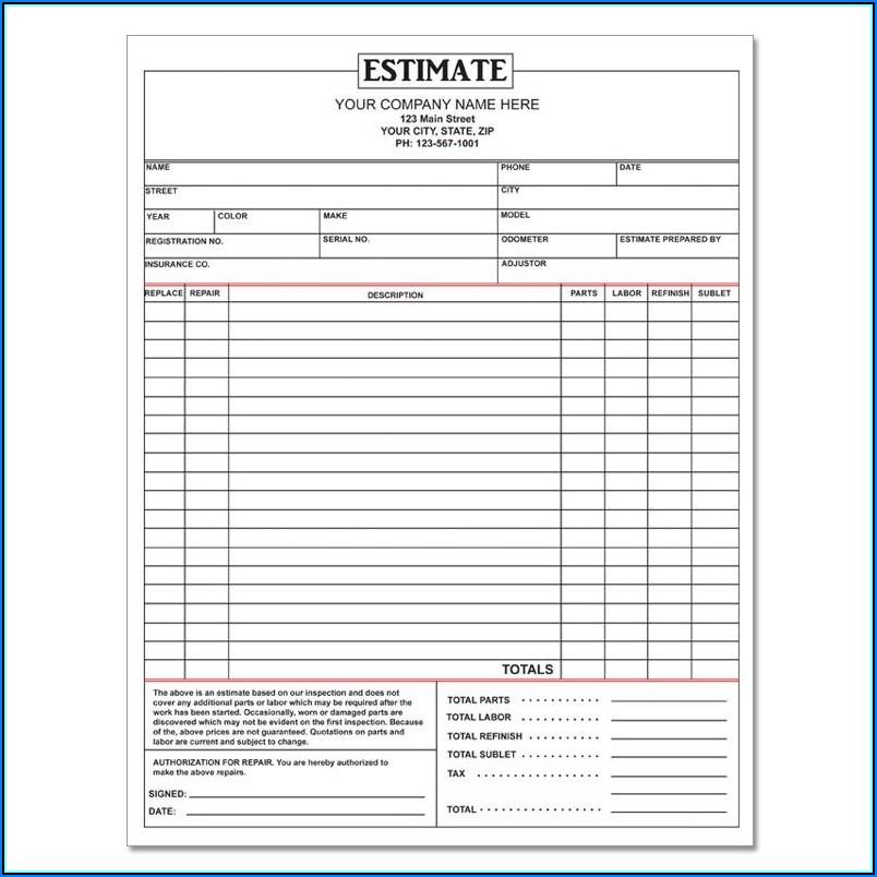 Free Online Auto Repair Estimate Template