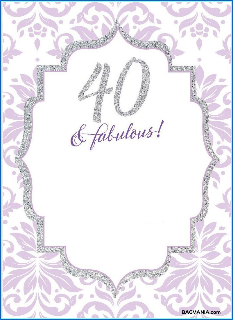 Free Printable 40th Birthday Party Invitation Templates