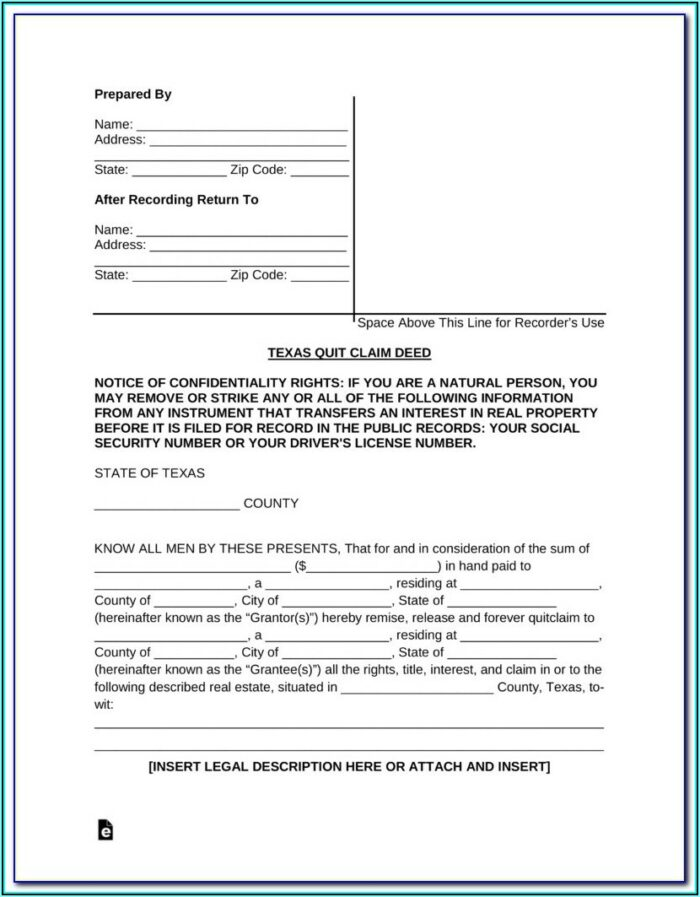 Free Quit Claim Deed Form For Florida Timeshare