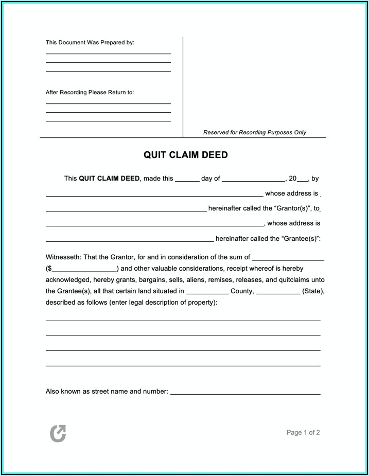 Free Quit Claim Deed Form For Property