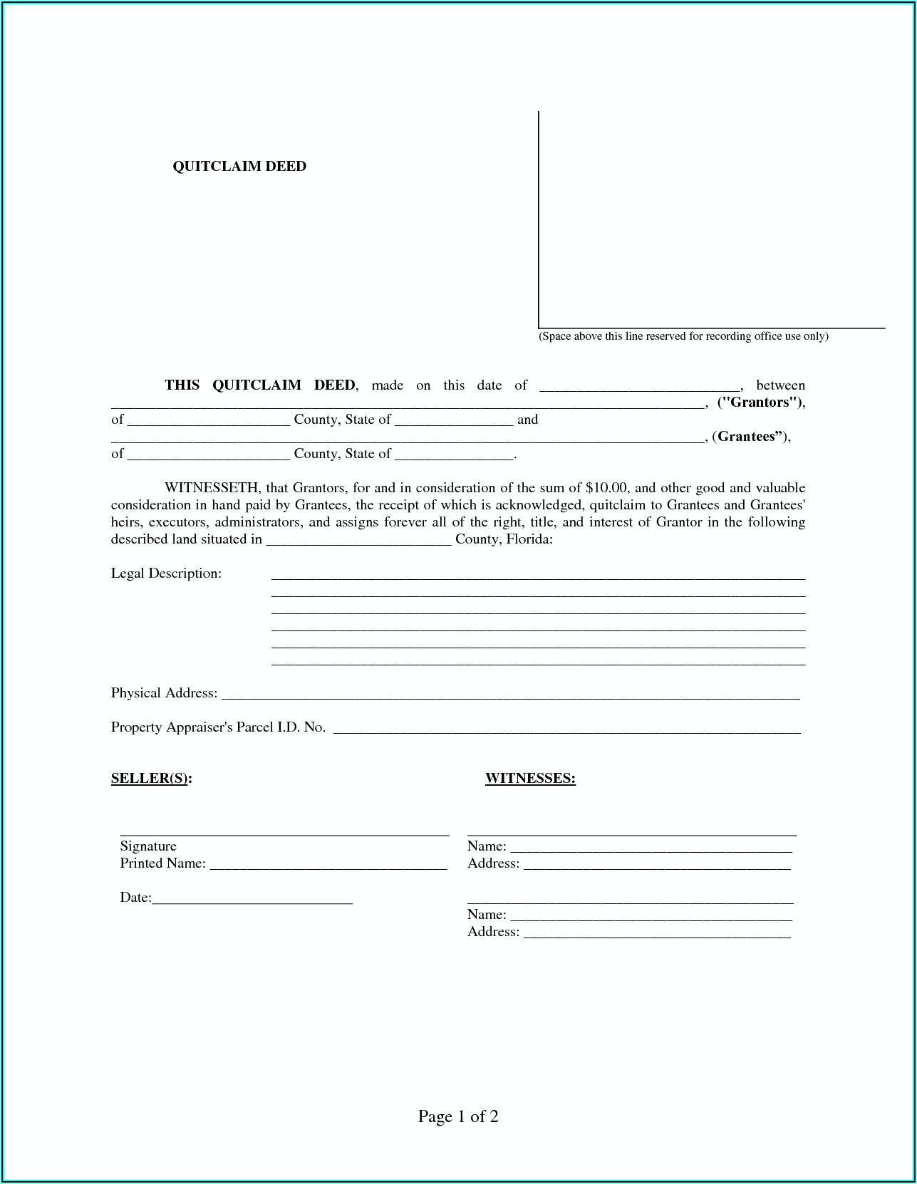 Free Quit Claim Deed Form Hillsborough County Florida