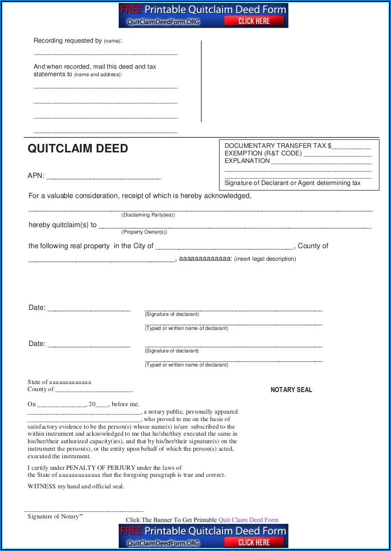 Free Quit Claim Deed Form Pdf