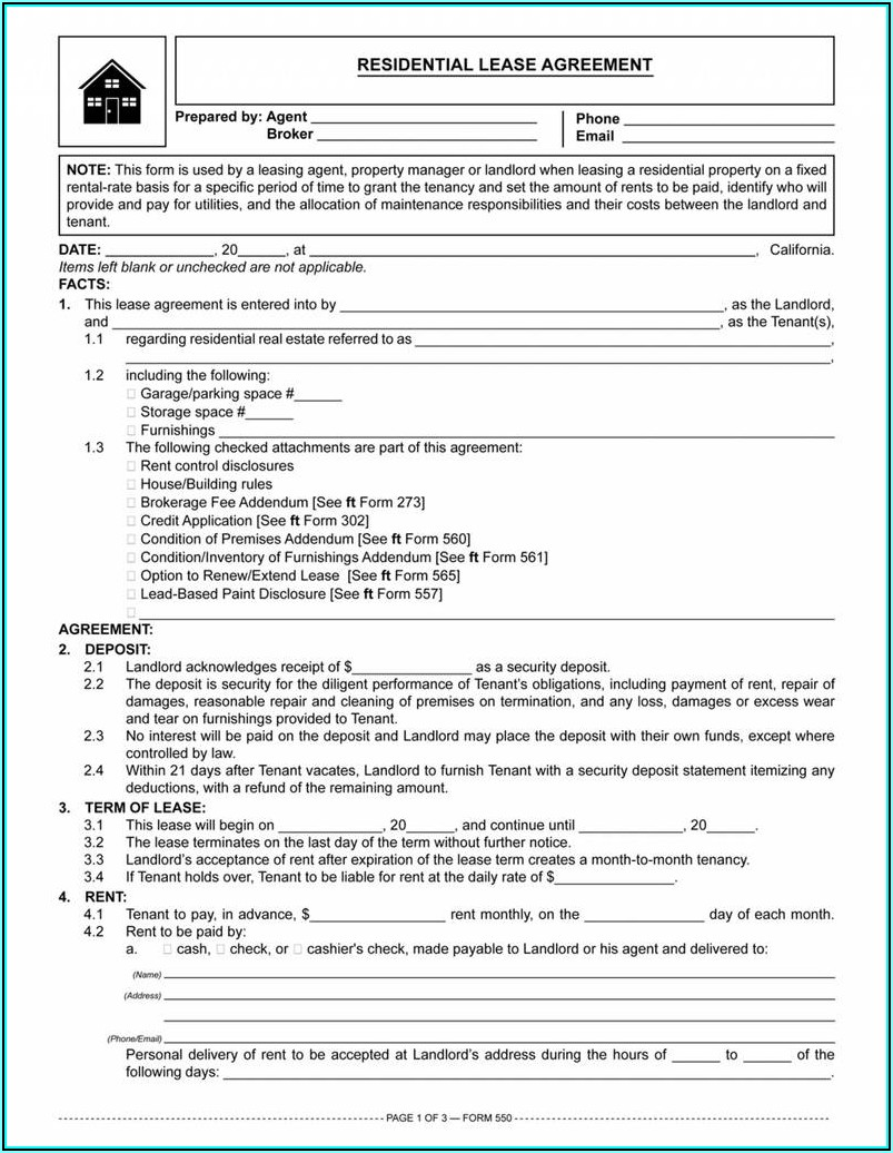 Free Rental Lease Agreement Forms Texas