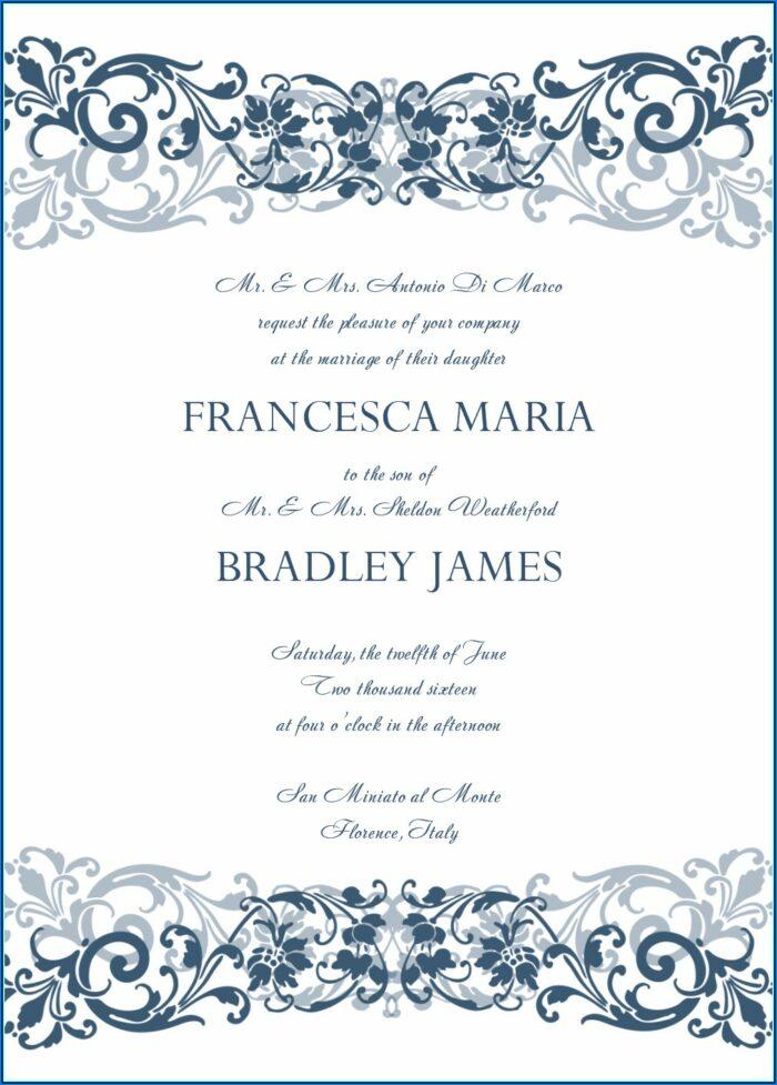 Free Royal Blue Wedding Invitation Templates For Word