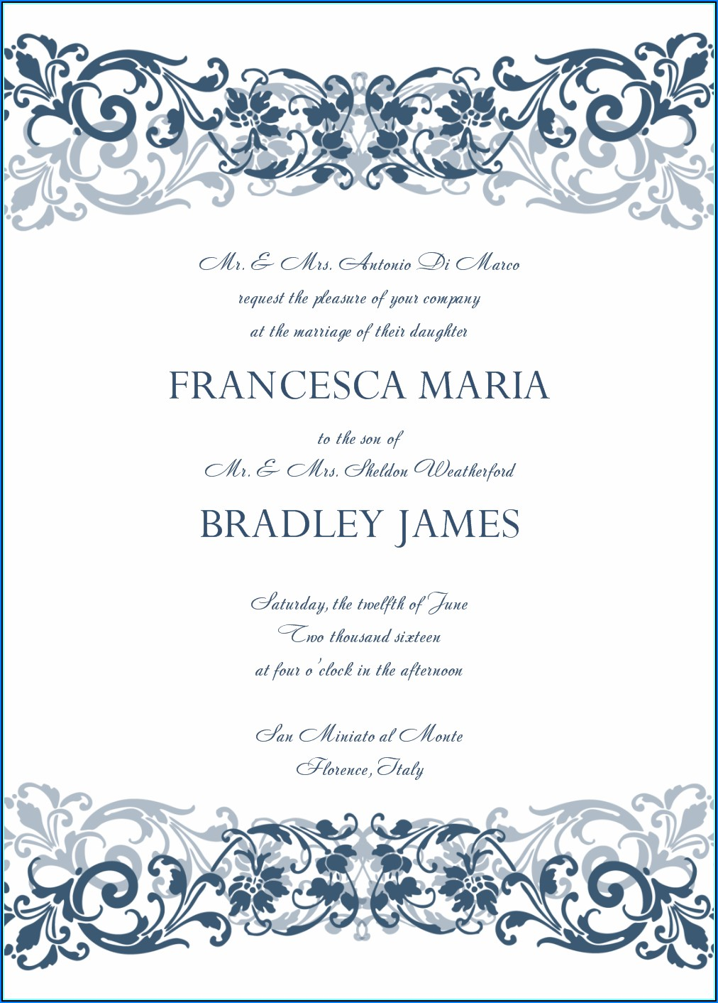 Free Royal Blue Wedding Invitation Templates For Word