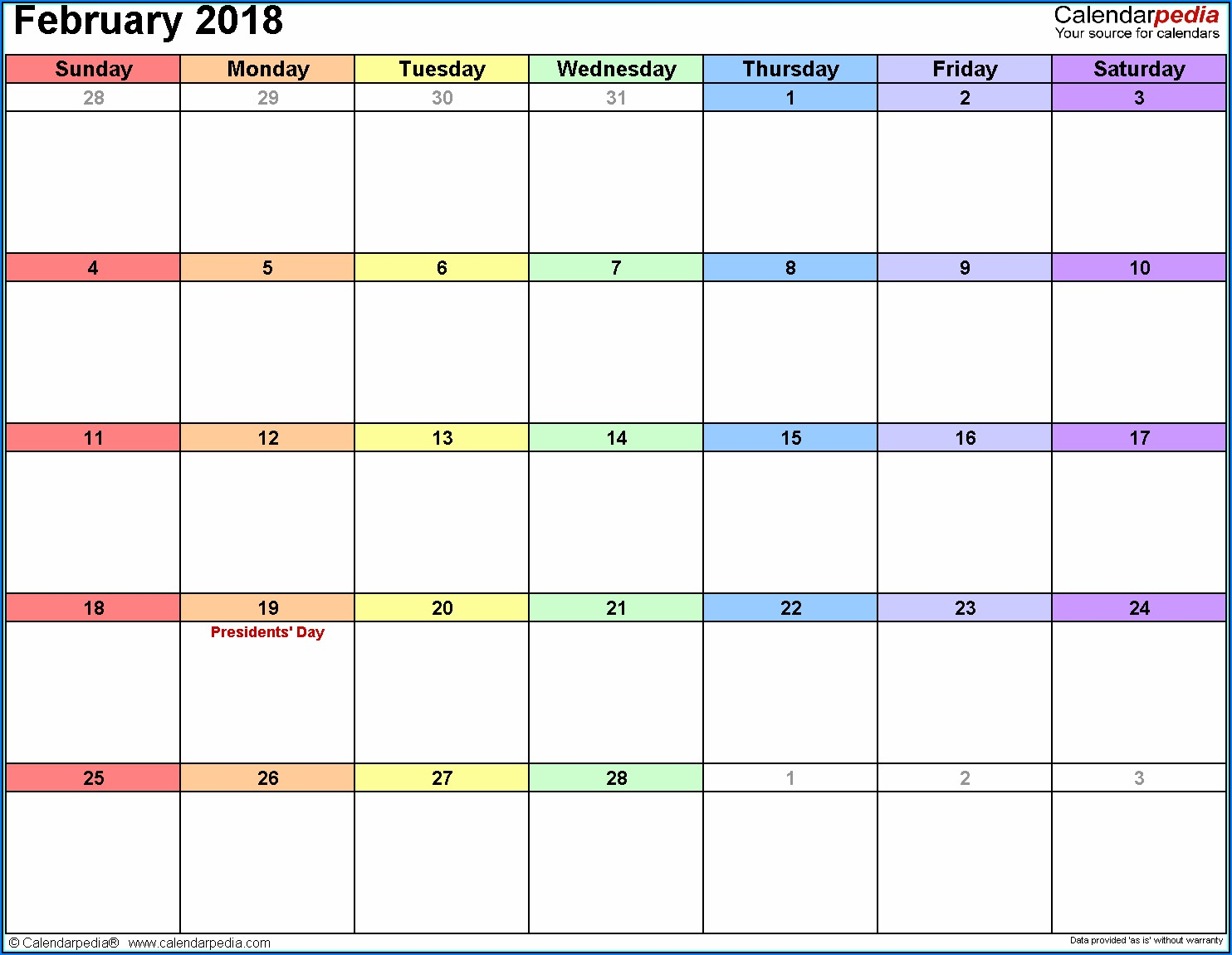 Free Scheduling Calendar Template 2018
