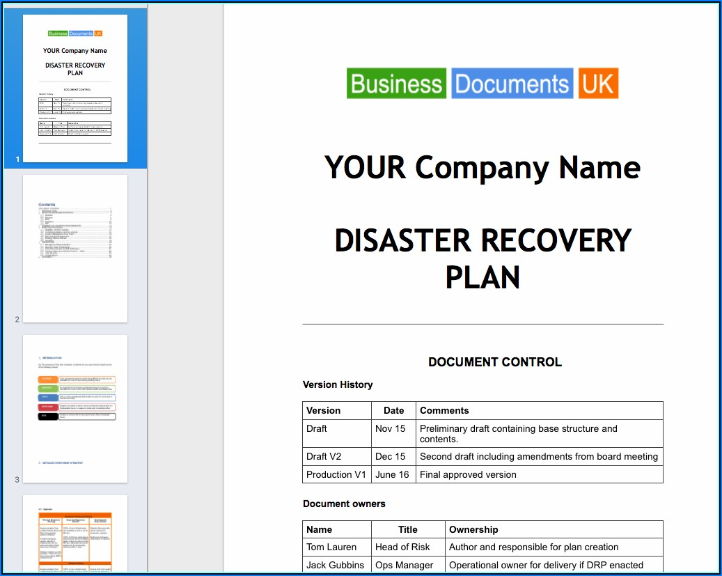 Free Small Business Continuity Plan Template