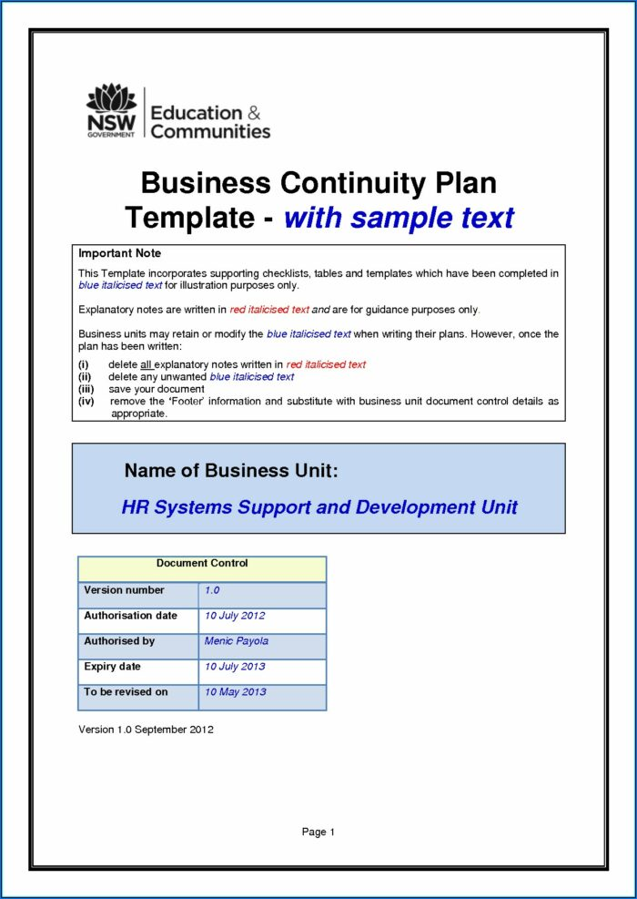 Free Small Business Disaster Recovery Plan Template