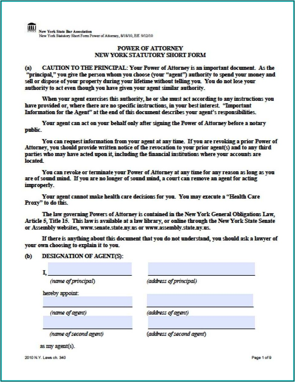 General Power Of Attorney Form Ny Pdf