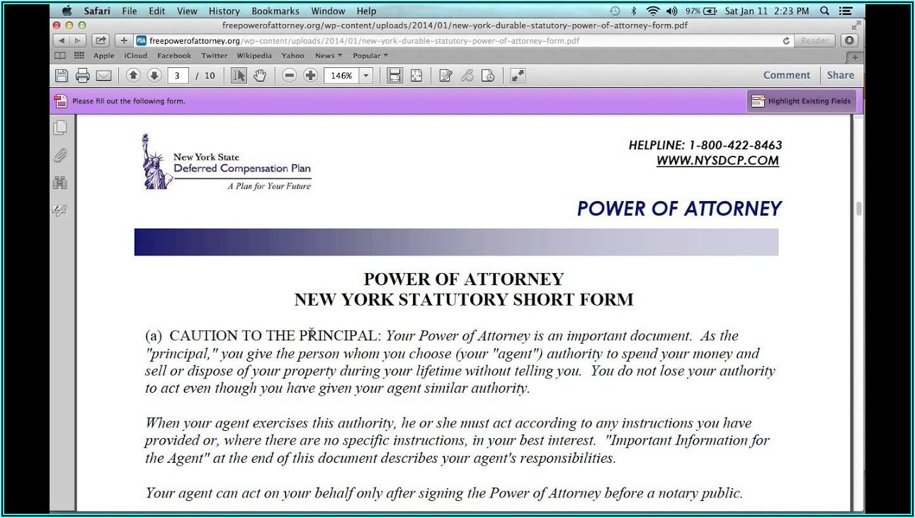 General Power Of Attorney Form Nyc