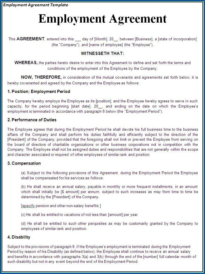 Hairdressers Employment Contract Template Free Download
