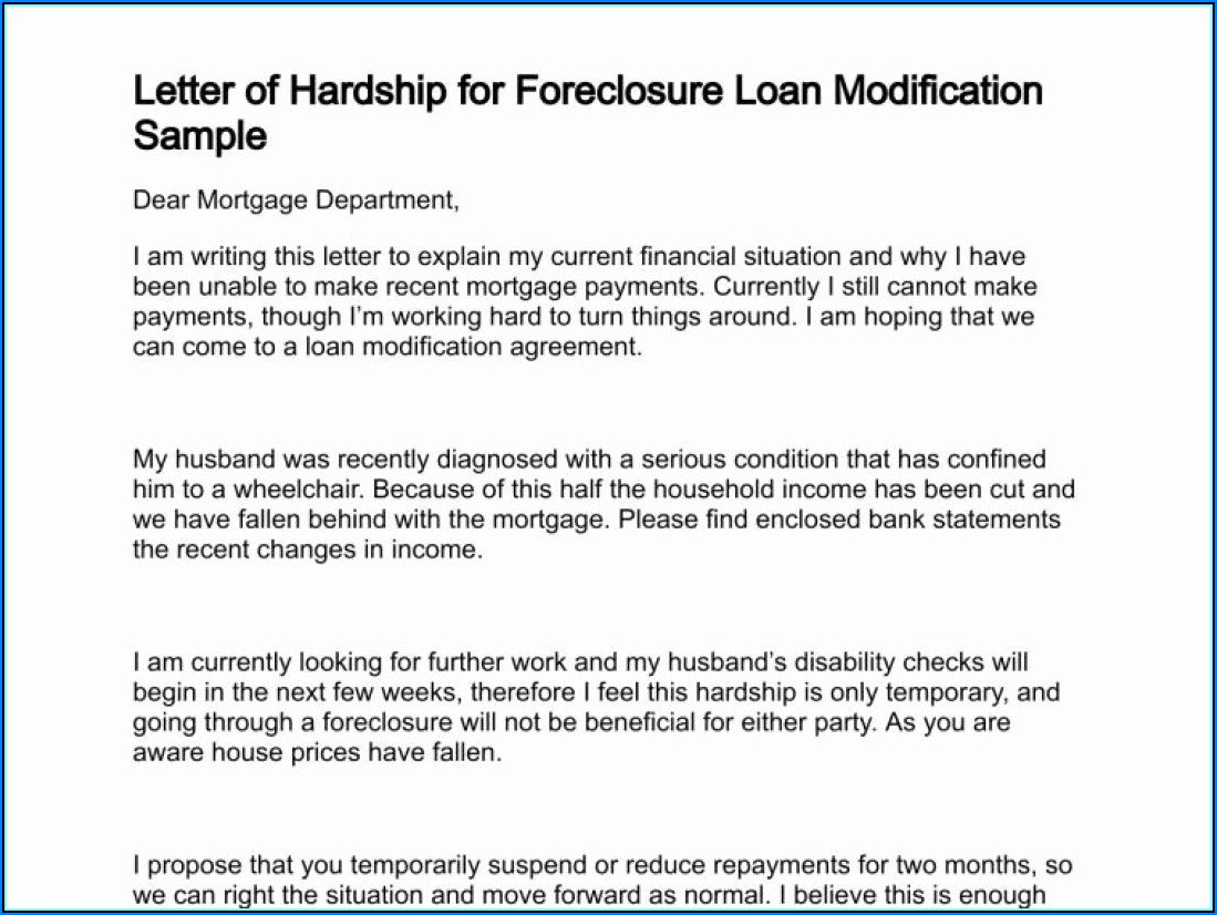Hardship Letter Template For Loan Modification Request