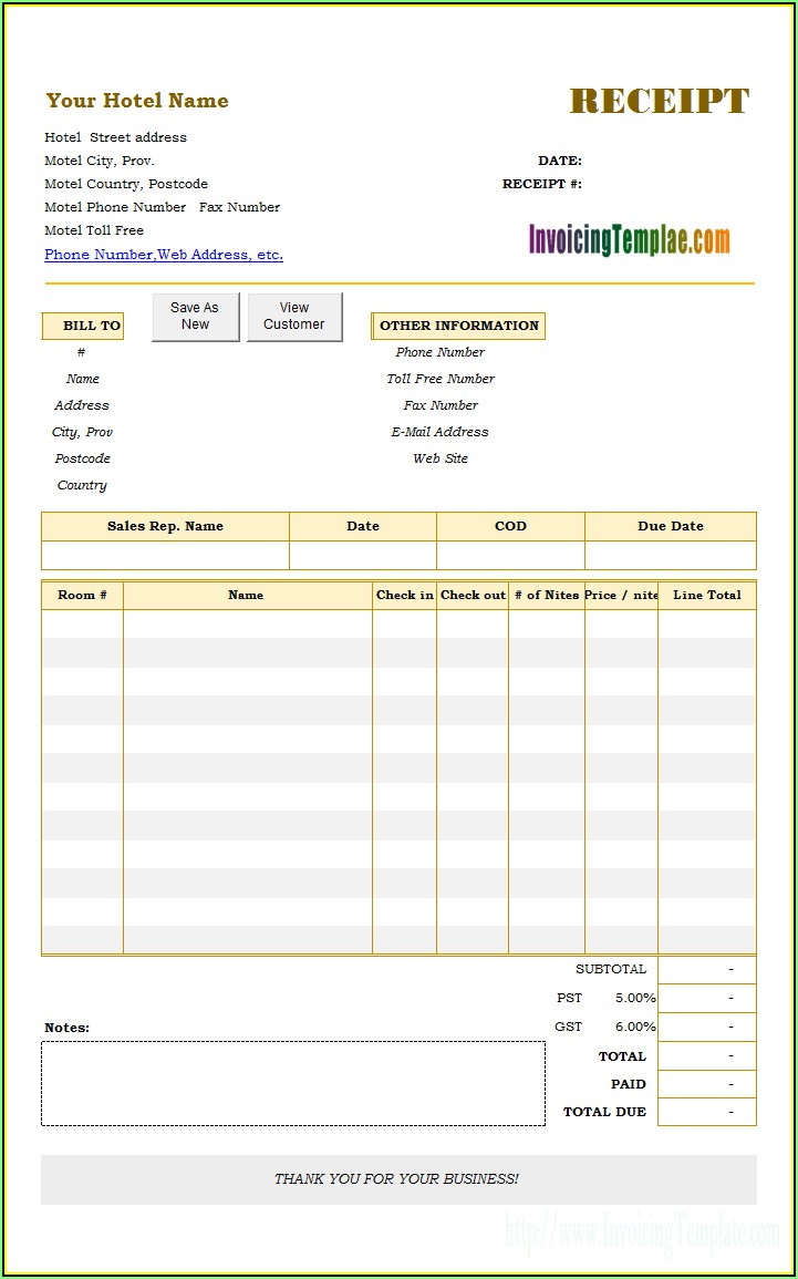 Hotel Invoice Template Excel