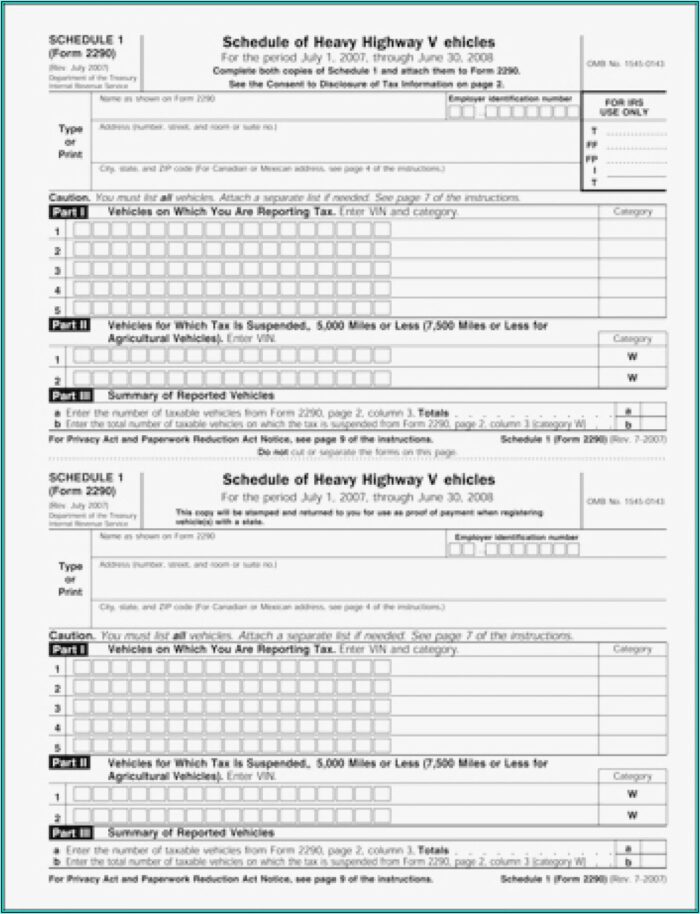 How To Fill Out Schedule 1 Form 2290