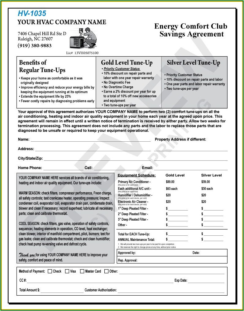 Hvac Preventive Maintenance Contract Forms