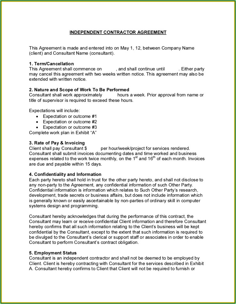 Independent Contractor Scope Of Work Template