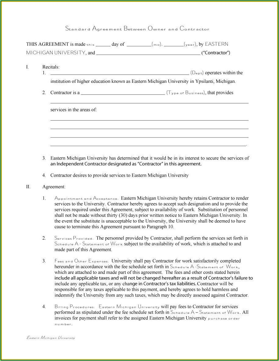 Independent Contractor Template Free