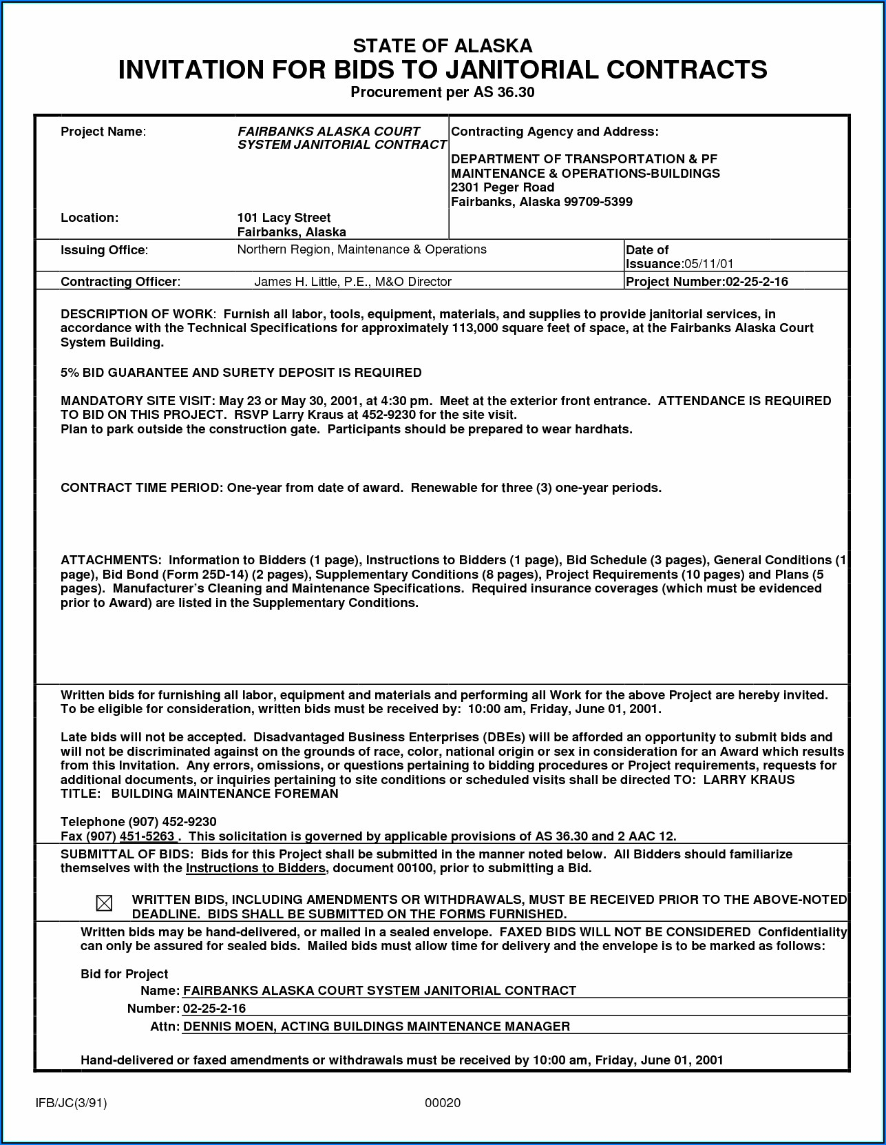 Janitorial Contract Bid Template