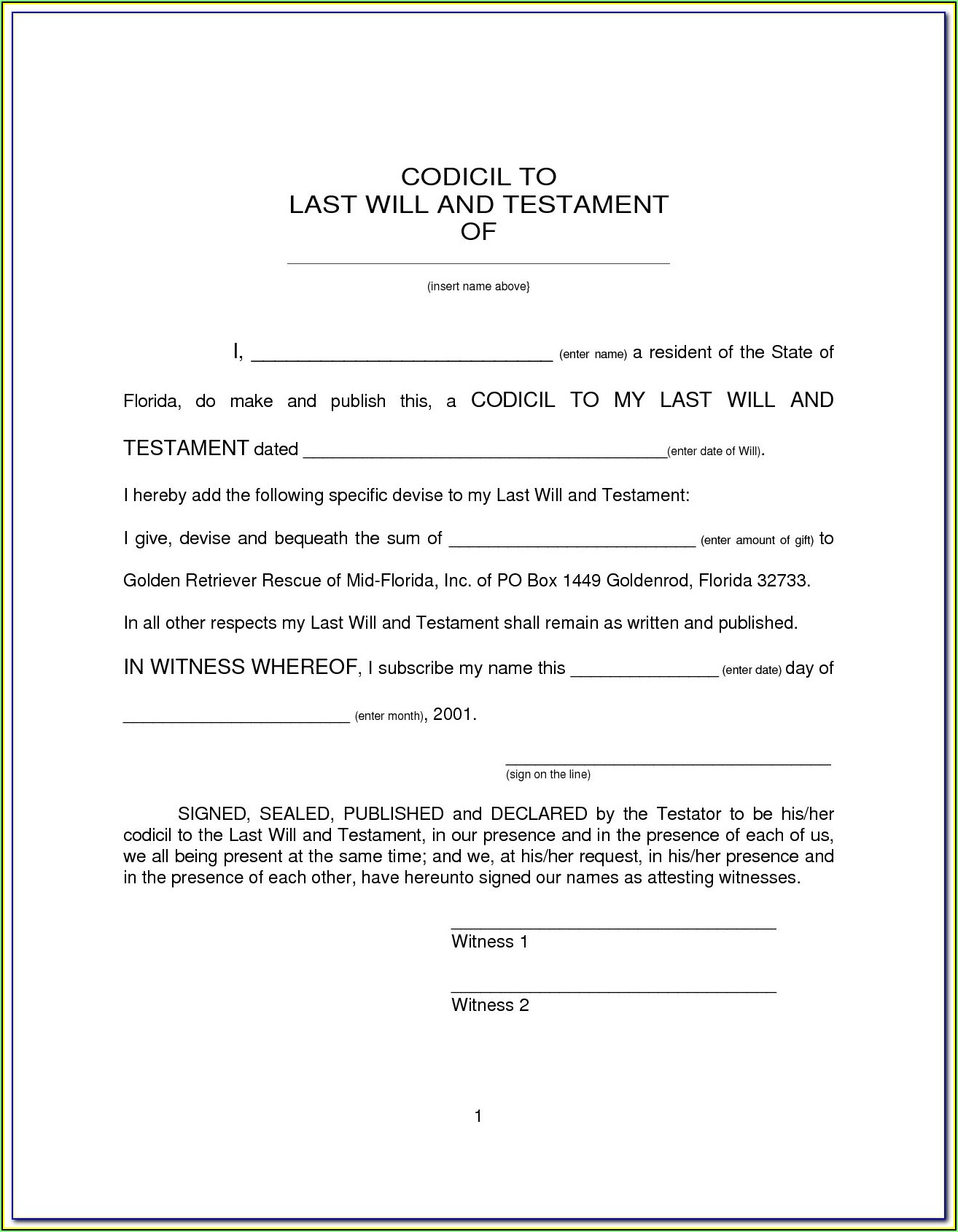Last Will And Testament Template Free Uk