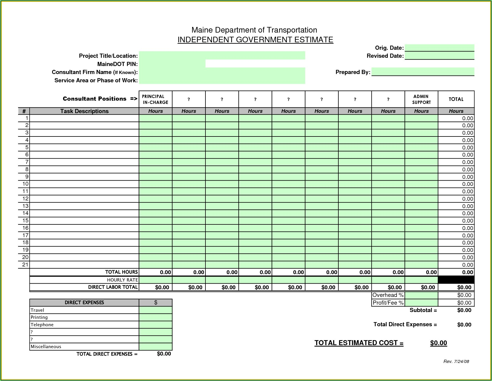 Lawn Care Bid Sheet Template Excel