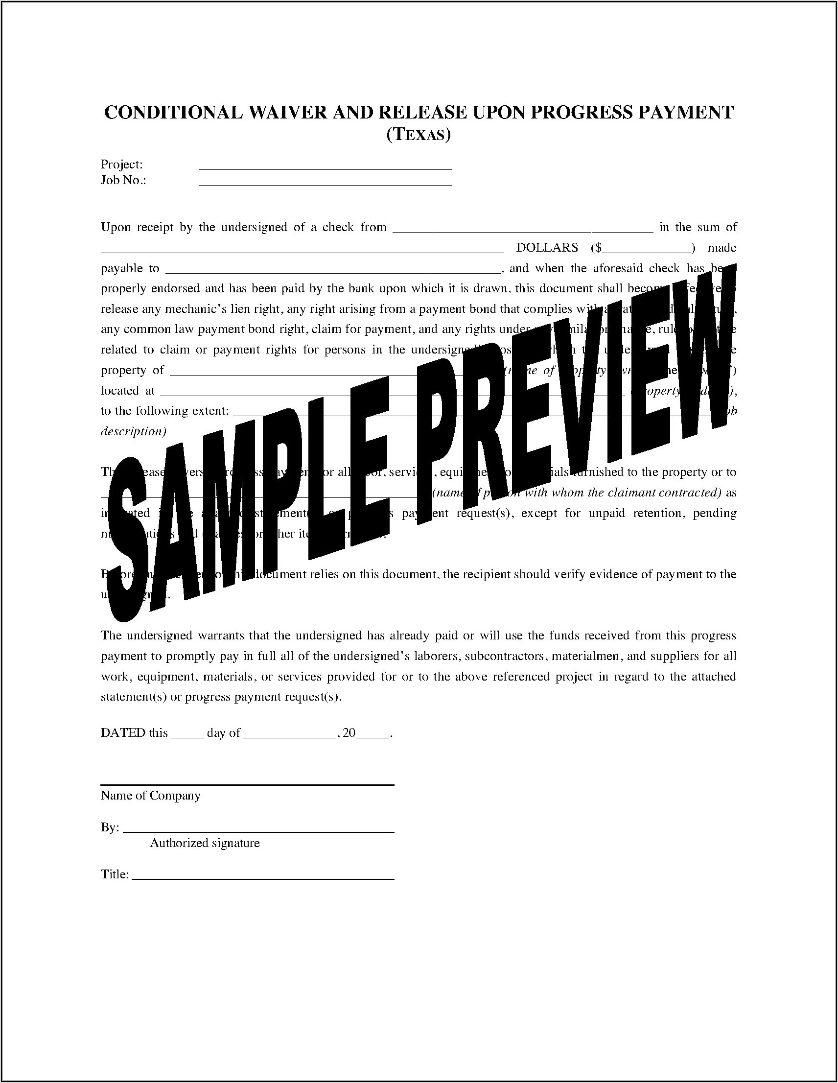 Lien Waiver Forms Texas