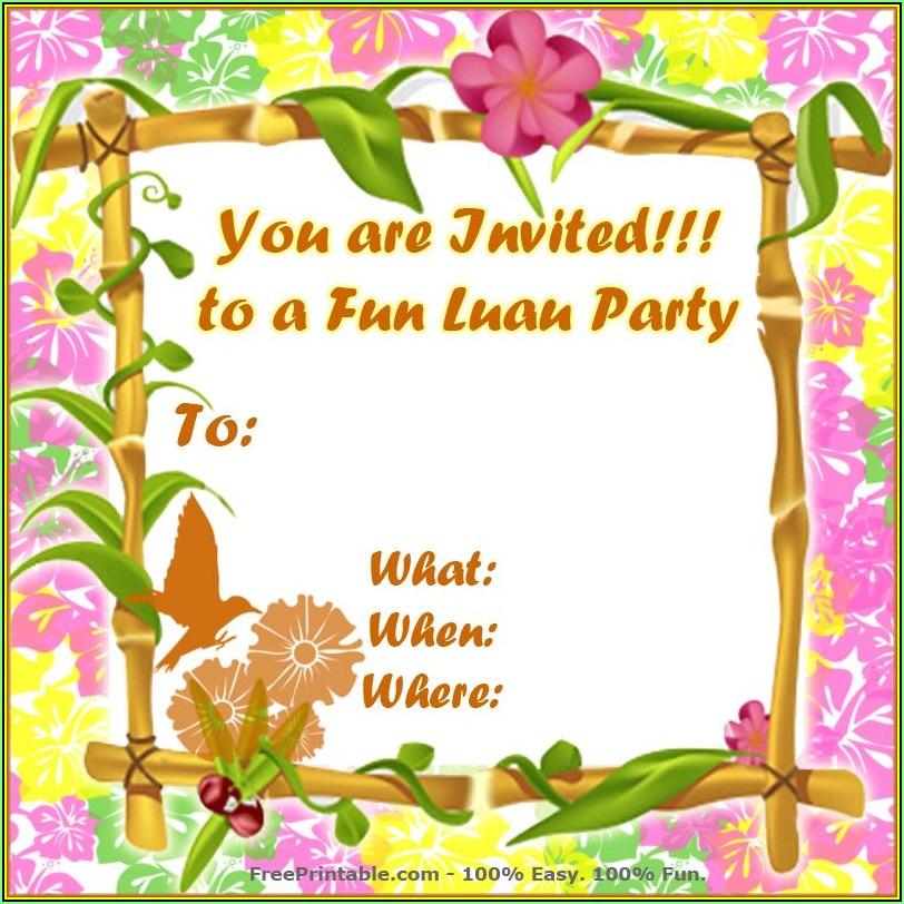 Luau Party Invitations Templates Free