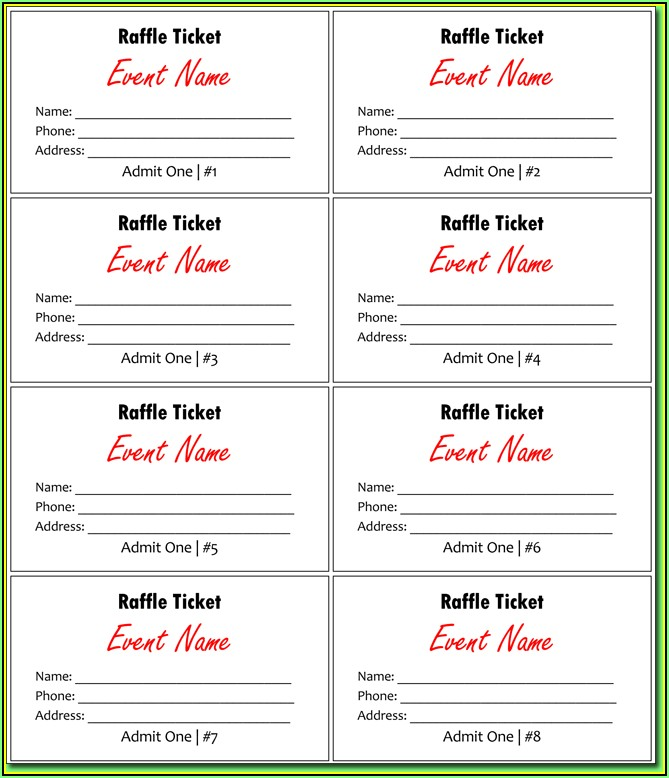 Lucky Draw Ticket Template Excel