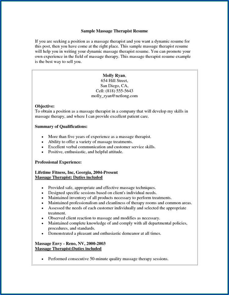 Massage Therapist Job Description Resume