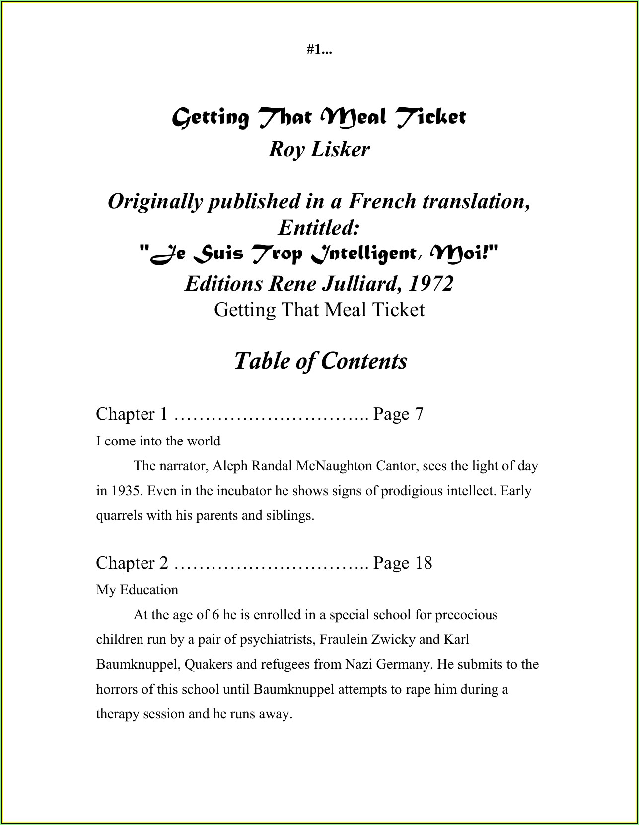 Meal Ticket Format