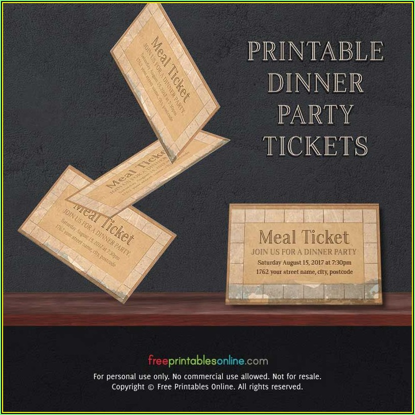 Meal Ticket Printable