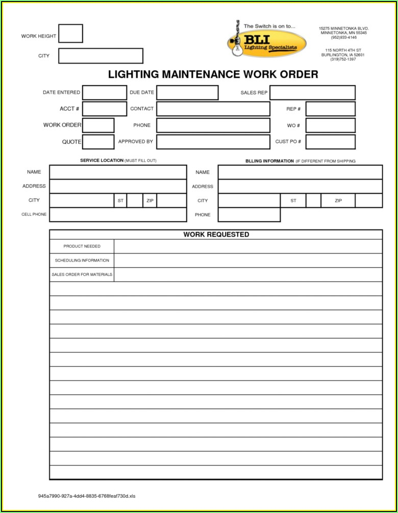 Mechanic Work Order Template Excel