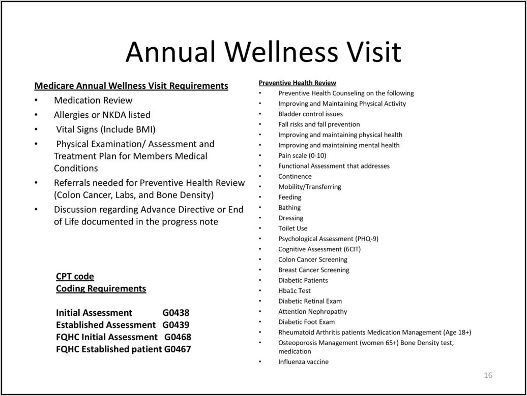 Medicare Wellness Exam Documentation Requirements